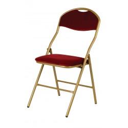 Chaise pliante Vienna armature dorée, velours bordeaux