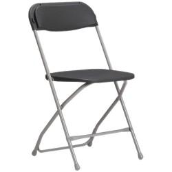 Chaise noire pliante en métal