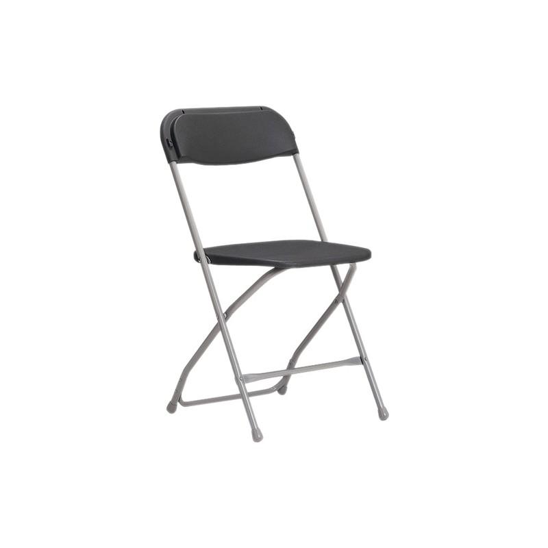 chaise noire pliante en m tal brasserie taquet location. Black Bedroom Furniture Sets. Home Design Ideas